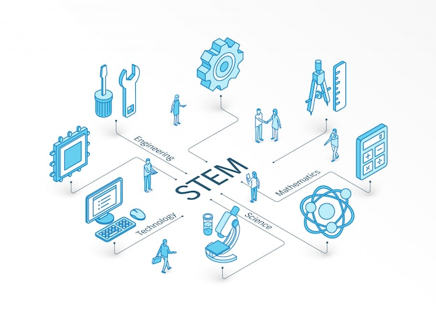 Concepto isométrico stem. sistema de diseño infográfico integrado. trabajo en equipo de personas. símbolos de ciencia, tecnología, ingeniería, matemáticas. estudio de matemáticas, educación, pictograma de aprendizaje.