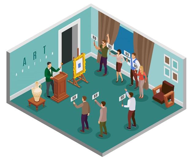 Concepto isométrico de subasta con hall en el edificio y personas con ilustración de tabletas