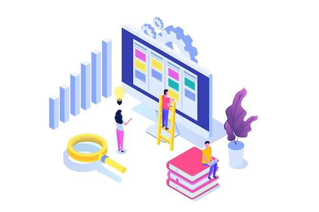 Concepto isométrico del tablero de tareas scrum o canban. notas para el desarrollo ágil de software. ilustración vectorial