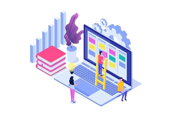 Concepto isométrico del tablero de tareas scrum o canban. notas para el desarrollo ágil de software.