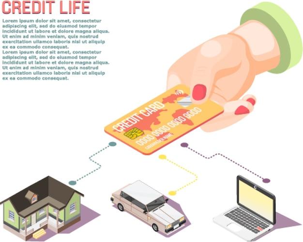 Concepto isométrico de tarjeta de mano