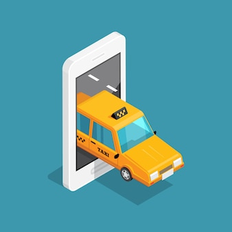 Concepto isométrico de taxi inteligente