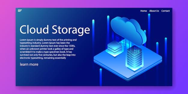 Concepto isométrico de la tecnología de almacenamiento en la nube
