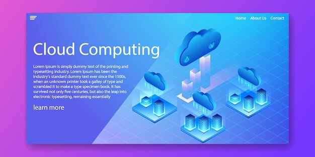 Concepto isométrico de la tecnología de cloud computing