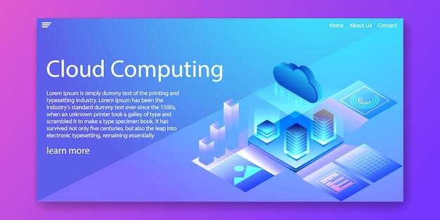 Concepto isométrico de la tecnología de la computación en nube. plantilla de la web