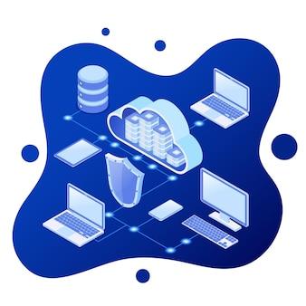 Concepto isométrico de tecnología de computación en la nube