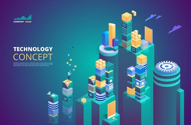Concepto isométrico de tecnología. criptomoneda y blockchain. futuro abstracto de alta tecnología