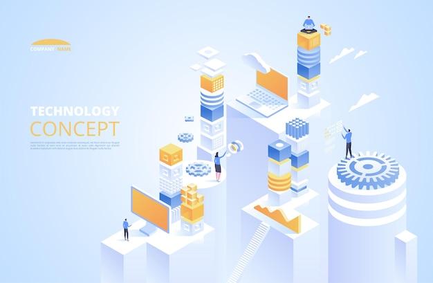 Concepto isométrico de tecnología. criptomoneda y blockchain.