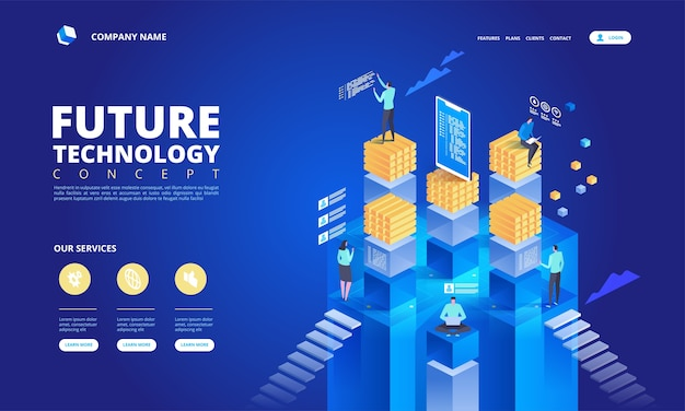 Concepto isométrico de tecnología. ilustración de alta tecnología futura abstracta