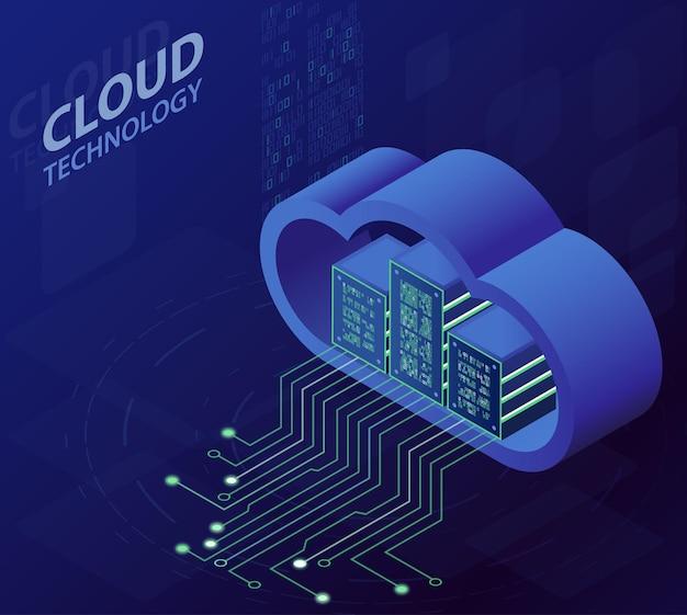 Concepto isométrico de tecnología en la nube, servicios informáticos modernos.