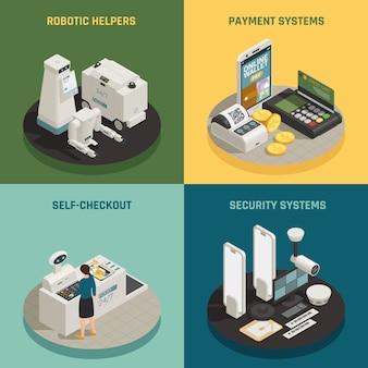 Concepto isométrico de tecnologías de pago de supermercado