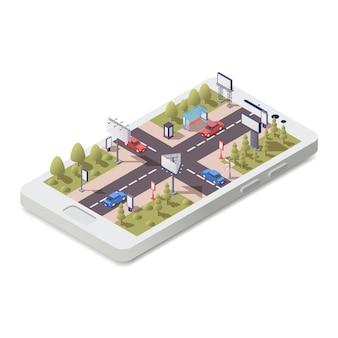 Concepto isométrico con teléfonos inteligentes 3d y construcciones publicitarias en la ilustración de las calles de la ciudad