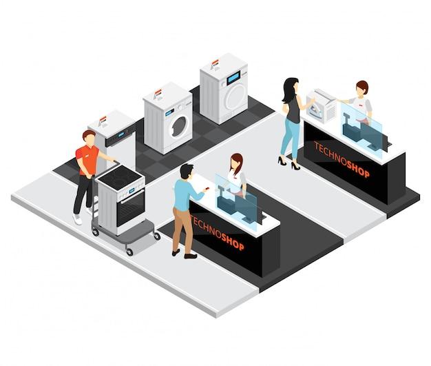 Concepto isométrico de la tienda de electrodomésticos