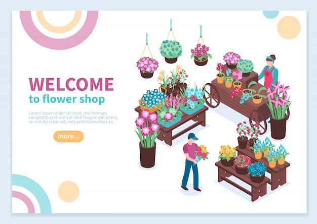 Concepto isométrico de la tienda de flores