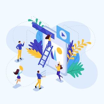 Concepto isométrico trabajo en equipo de un gran equipo en un proyecto. concepto para web