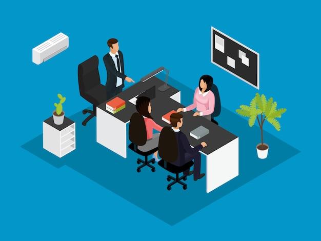 Concepto isométrico de trabajo en equipo de negocios
