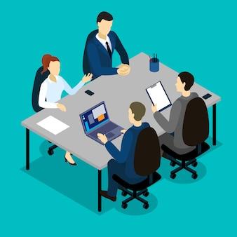Concepto isométrico de trabajo en equipo