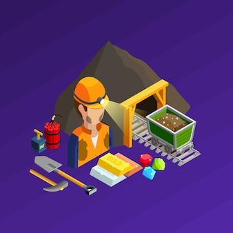 Concepto isométrico de trabajo minero