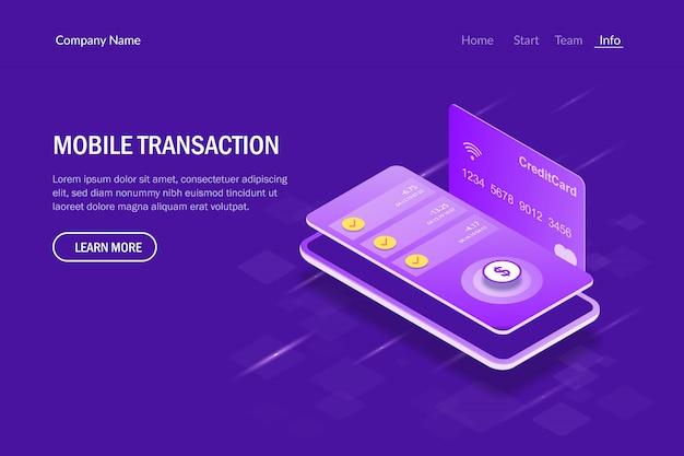Concepto isométrico de transacción móvil. pago por servicios utilizando un teléfono móvil.