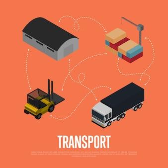 Concepto isométrico de transporte de carga comercial