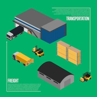 Concepto isométrico de transporte de carga