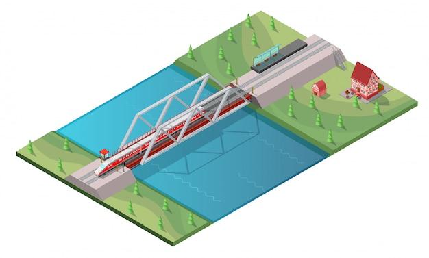 Concepto isométrico de tren de alta velocidad de pasajeros