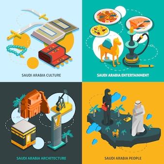 Concepto isométrico turístico de arabia saudita