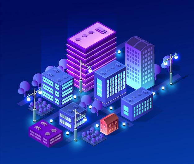 Concepto isométrico ultra ciudad