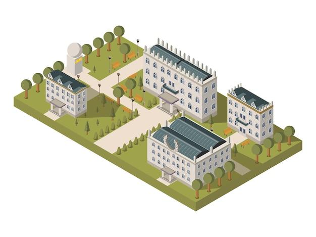 Concepto isométrico de la universidad