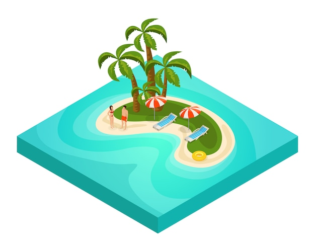 Concepto isométrico de vacaciones de playa tropical