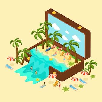 Concepto isométrico de vacaciones en la playa
