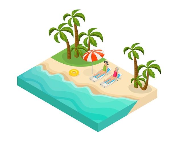 Concepto isométrico de vacaciones de verano de personas jubiladas con jubilados acostados en sillones reclinables cerca del mar en una playa tropical