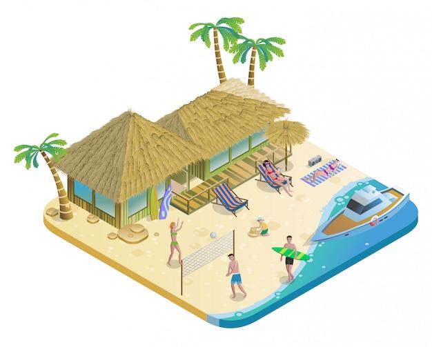 Concepto isométrico de vacaciones de verano en la playa