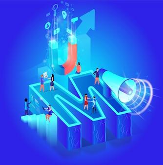 Concepto isométrico del vector del alfabeto del negocio