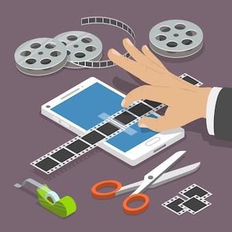 Concepto isométrico del vector plano video móvil del editor.