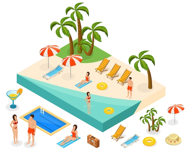 Concepto isométrico de viaje de la isla