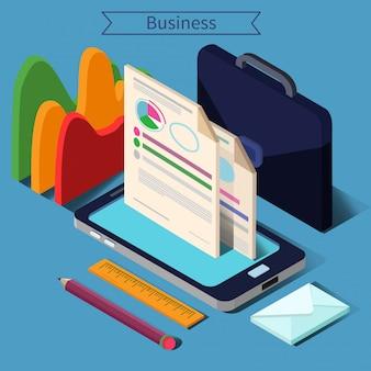 Concepto isométrico de la vida empresarial moderna con teléfonos inteligentes, cartas y documentos