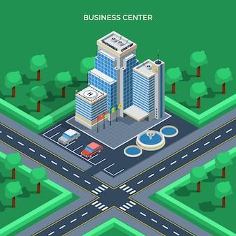 Concepto isométrico de la vista superior del centro de negocios