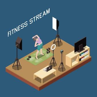 Concepto isométrico de vlogging con entrenamiento de transmisión de blogger de fitness femenino