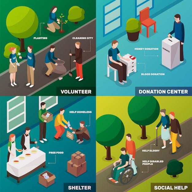 Concepto isométrico de voluntariado