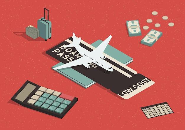 Concepto isométrico de vuelos de bajo costo.