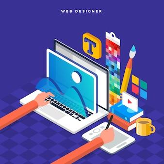 Concepto isométrico web er. ilustración. diseño de diseño de sitios web.