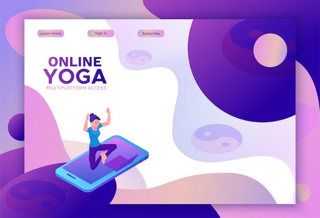 Concepto isométrico de yoga o plantilla de sitio web