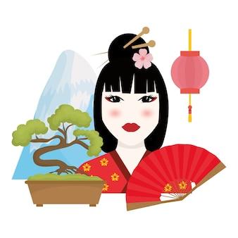 Concepto de japón con el diseño del icono de la cultura, gráfico del ejemplo 10 eps del vector.