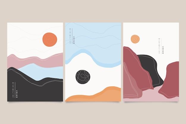 Concepto japonés minimalista de colección de portadas