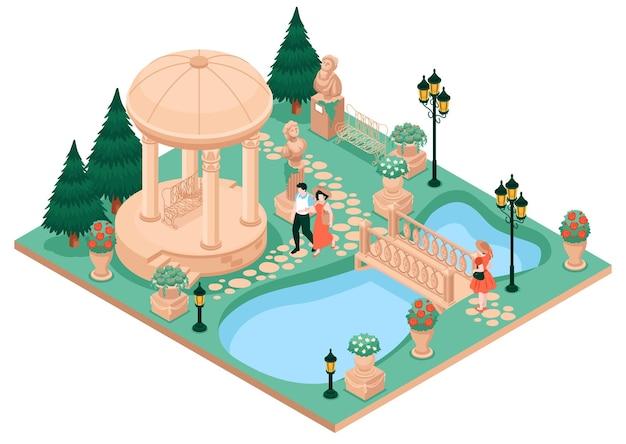 Concepto de jardín de casa de campo con estanque y puente del parque