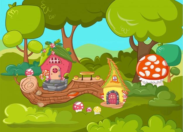 Concepto de jardín de gnomos, estilo de dibujos animados