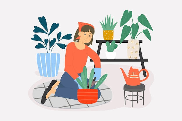 Concepto de jardinería en casa