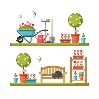 Concepto de jardinería herramientas de jardín