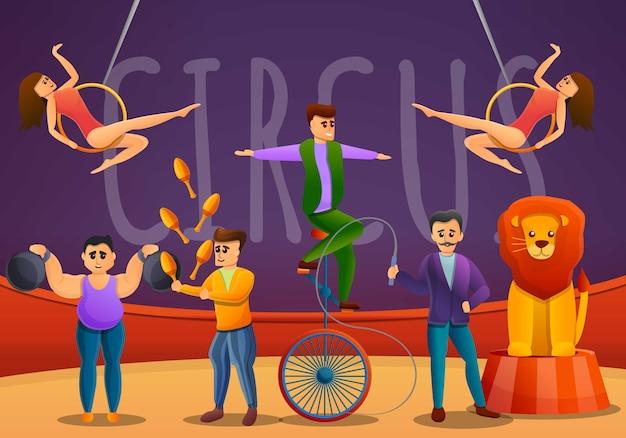 Concepto de jongleurs banner, estilo de dibujos animados